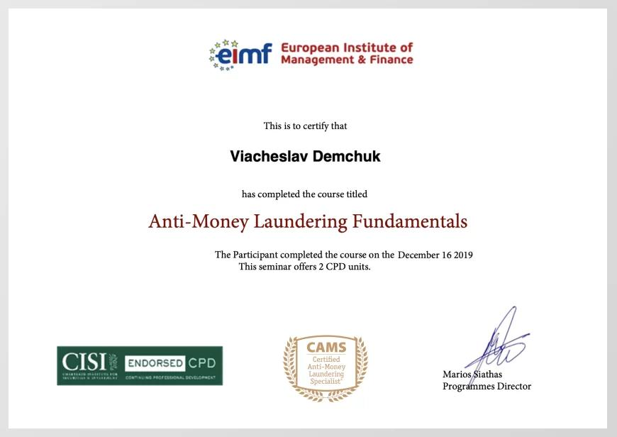 Certificate of European Institute of Management and Finance